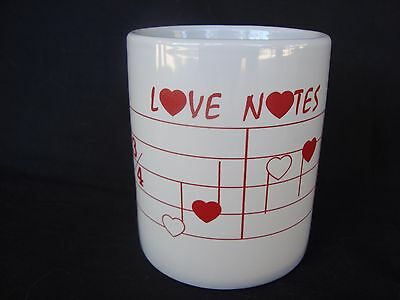 LOVE NOTES Music Mug 11 Oz Ceramic White With Red Notes & Staff Brand NEW