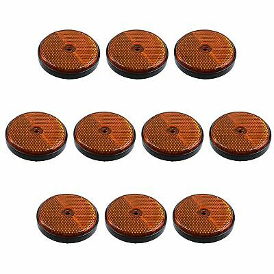Amber Round Side Reflector Pack of 10 for Trailers Fence / Gate Posts TR066