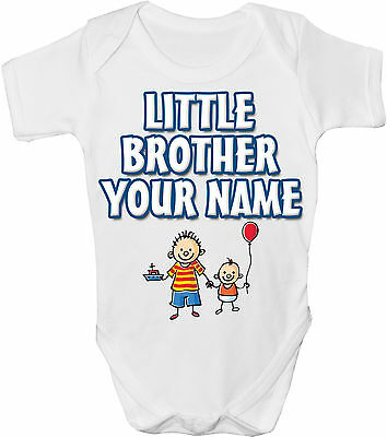 "Personalised ""little Brother"" Baby Vest / Gro / Onesie *great Gift & Named Too *"