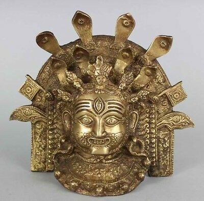 "Nepal 8"" Bronze Ceremonial Gilded Wall mask USA SELLER"