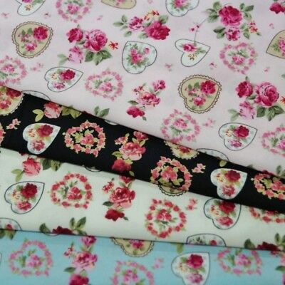 100% Cotton Poplin Fabric Rose & Hubble Roses and Floral Hearts Rose