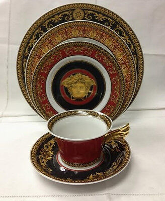 Versace Medusa Red 5 Piece Place Setting / Brand New Rosenthal