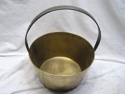 Vintage Colonial Solid Brass Bucket Hand Wrought/Forged Handle Tool Kettle Pot A