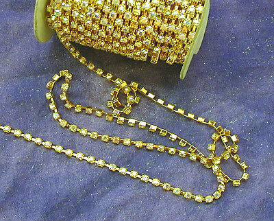 Vintage Gold-Tone Metal + Iridescent Ab Glass Rhinestones Chain Flexible Trim