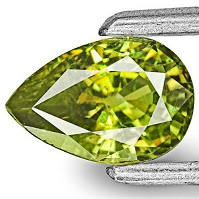 0.75-Carat Eye-Clean Yellowish Olive Green Demantoid Garnet 6.74x4.58x3.19 mm
