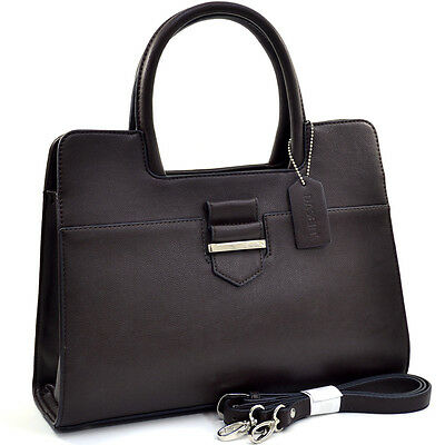 Dasein Women Leather Classic Chic Briefcase Satchel Bag Office Bag Strap  Coffee