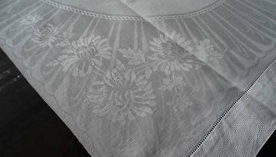 Vintage Linen Damask Guest Towel Art Deco Stripes & Mums