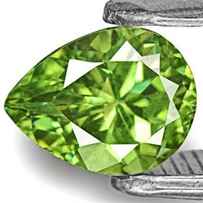 0.69-Carat Bright Green Eye-Clean Pear-Shaped Demantoid Garnet 6.14x4.75x3.51 mm