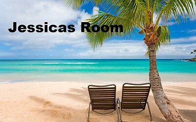two beach chairs Tropical Beach sunny palm tree poster  PERSONALIZE FREE