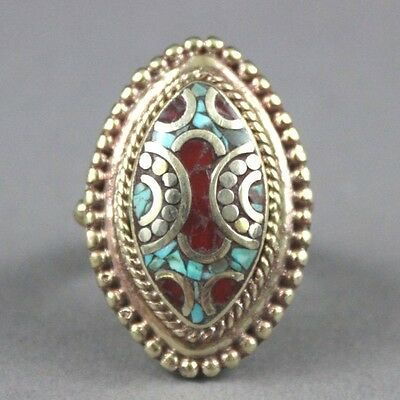Nepal Etched Silver Ring with Turquoise & Carnelian Size 8.25 USA SELLER