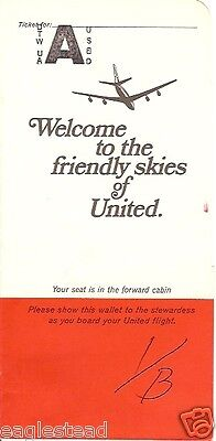 Ticket Jacket - United - Friendly Skies DC-8 - White over Red 1969 4-69 (J1553)