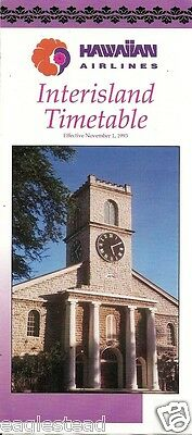 Airline Timetable - Hawaiian - 01/11/93 - Inter Island