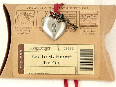 VALENTINE Key to My Heart TIE ON ONLY Longaberger Sweetheart NEW
