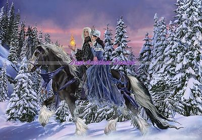 Nene Thomas Limited Edition Print Signed Duet Couple Horse Winter Snow Riders