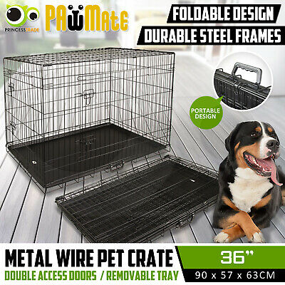 """36"""" Dog Cat Pet Puppy Wire Cage Kennel Crate Collapsible 2 Doors Metal with Tray"""