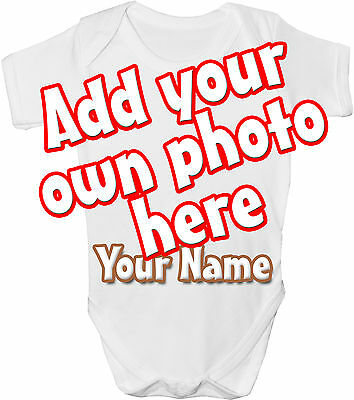 Own Photo Picture Personalised Baby Vest / Gro /bodysuit - *great Gift & Named*