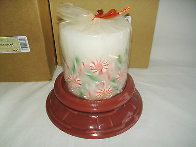 Centerpiece Paprika Holder Peppermint Inclusion Candle Longaberger New