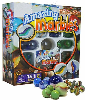 150+ Amazing Traditional Glass Marbles Toy Set & Instructions Mixed Sizes 160366