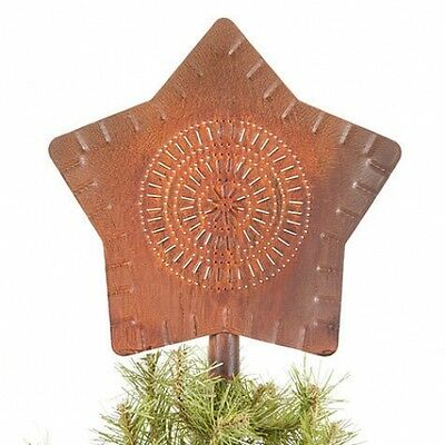 primitive new handcrafted RUSTY punched tin STAR tree topper /nice