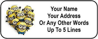 30 Despicable Me Minions Personalized Address Labels