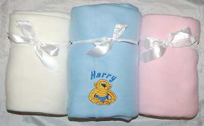 Personalised Baby Fleece Blanket 3 Colours Unique Newborn Or Christening Gift