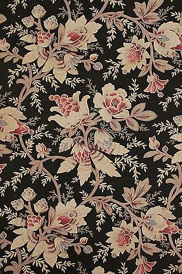 Antique French fabric black ground c1880 finely woven Indienne arborescent