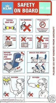 Safety Card - KLM - B737 300 - 1998 - 32  Light Green (S1428)