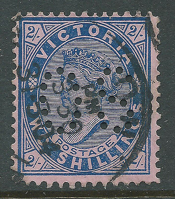 1901 - 1910 VIC Victoria Australia QV 2/- Blue Pink Postage OS Perfin REF:OS012
