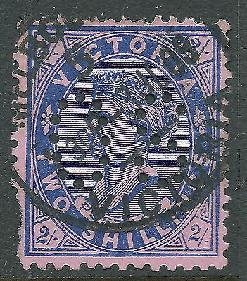 1901 - 1910 VIC Victoria Australia QV 2/- Blue Pink Postage OS Perfin REF:OS016