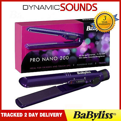 Babyliss 2860BDU Pro 200 Purple Nano Ceramic Multi Volt Mini Hair Straightener