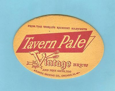 4 INCH  x 3 INCH OVAL TAVERN PALE VINTAGE BREW COASTER ** Atlantic Brewing Co.