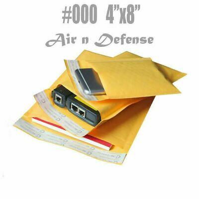 1000 #000 KRAFT BUBBLE PADDED ENVELOPES MAILERS BAGS 4 x 8 SELF SEAL AirnDefense