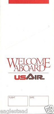 Ticket Jacket - US Air - Welcome Aboard - 1 Flight Format White -1989 (J1578)