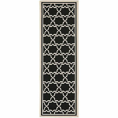 Safavieh Courtyard Poolside Black/ Beige Indoor/ Outdoor Rug (2'3 x 8')