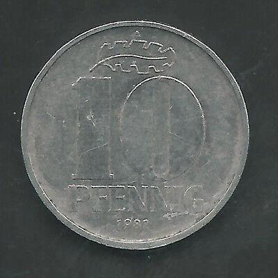 Germany, East,  1982-A,  10 Pfennig, Aluminum,  Km#10,  Almost Uncirculated