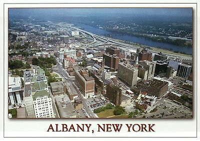 Aerial View of Albany, New York, Buildings, Streets, Hudson River, NY - Postcard