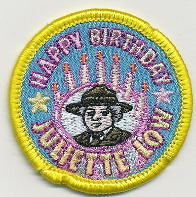 Girl HAPPY BIRTHDAY JULIETTE LOW Yellow Fun Patches Crest Badge SCOUTS GUIDE Sew