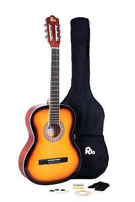 Rio 39'' Full Size 4/4 Beginner Classical Acoustic Guitar Pack Package Sunburst