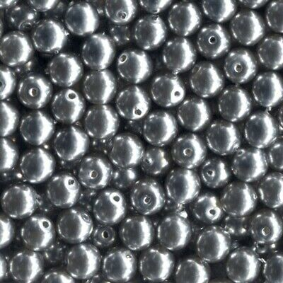 100 4mm Silver Loose Czech Glass (Faux) Pearl Beads