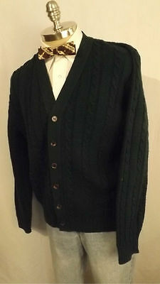 Vtg Jantzen Country Squire Cable Knit Acrylic Cardigan Sweater sz L USA made
