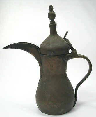 Antique Big Ottoman Turkish Islamic Huge Coffee Pot Ewer With 2 Thugra 38.5 Cm H