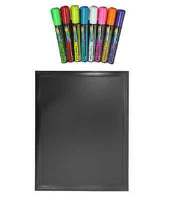 A4 Framed Memo Black Board & Liquid Chalk Marker Pen With Magnets For Fridge