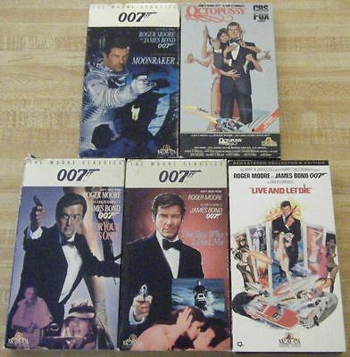 5 ROGER MOORE JAMES BOND ~ VHS ~ Moonraker, Octopussy, For Your Eyes Only + 2