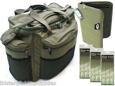 New Large Green Carp Fishing Tackle Bag Holdall +  Rig Wallet + 18 Hair Rigs NGT