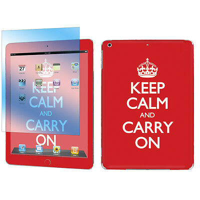 Decal Vinyl Skin Sticker + Screen for Apple iPad Air Red Keep Calm And Carry On