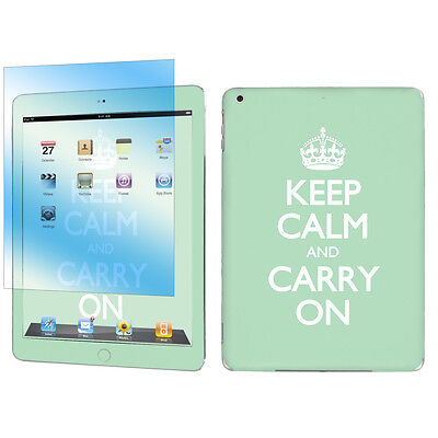Decal Vinyl Skin Sticker + Screen for Apple iPad Air Mint Keep Calm And Carry On