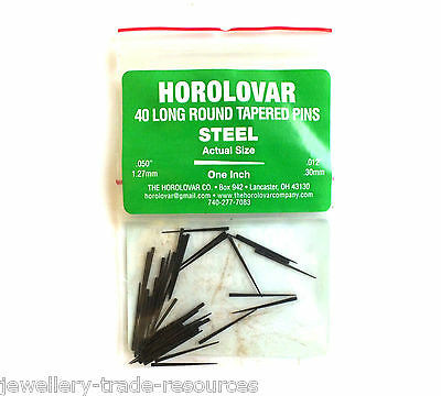 HOROLOVAR SMALL STEEL CLOCK TAPER PINS 25mm Long x 0.30mm - 1.27mm