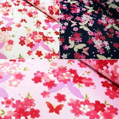 100% Cotton Poplin Fabric Butterfly Floral Garden And Hearts