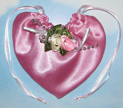 20 Pink Satin Heart Shaped Rosette Bags-Wedding Favor Party Gift Pouches Bags