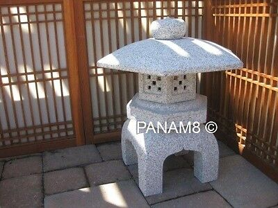 Yukimi Trio Lanterns &  Ginkakuji Water Basin All Granite Stone (Set Of 4 )
